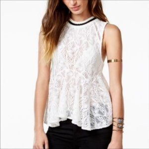 "Free People White ""Maise"" Lace Peplum Top NWOT"